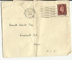 An envelope addressed to Kenneth Roberts ca. 1939.
