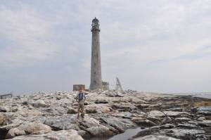 Today a lighthouse stands atop the highest point of Boon Island. The castaways would have loved to have such shelter from the bone-numbing cold, bitter winds, snow, and ice. (The person in the photo is Stephen Erickson.)