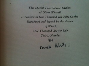Roberts' signature on Oliver Wiswell 2 vol Limited Edition copy, 468/1050