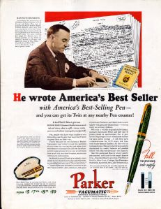 Parker Vacumatic pen ad featuring Kenneth Roberts in 1938