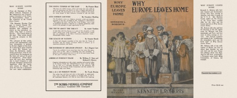 "Facsimile of the dust jacket for ""Why Europe Leaves Home"". Courtesy of Facsimile Dust Jackets, LLC."